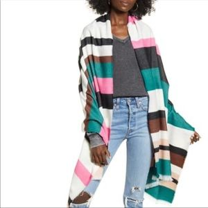 BP Multicolored Striped Shawl Pink/Green/Brown